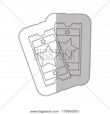 grayscale contour sticker of movie tickets vector illustration