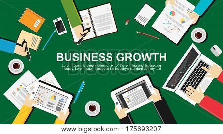 Business growth concept illustration. Flat design. Teamwork meeting , planning concept.