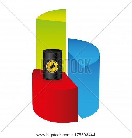 colorful silhouette with statistics graphs with oil price fall vector illustration