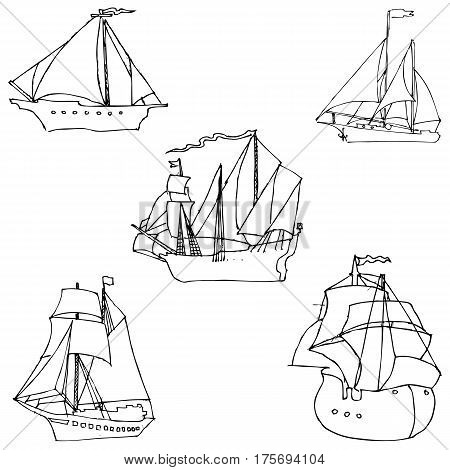 Sailboats. Sketch by hand. Pencil drawing by hand. Vector image. The image is thin lines.