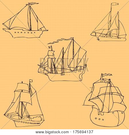 Sailboats. Sketch by hand. Pencil drawing by hand. Vector image. The image is thin lines. Vintage colors