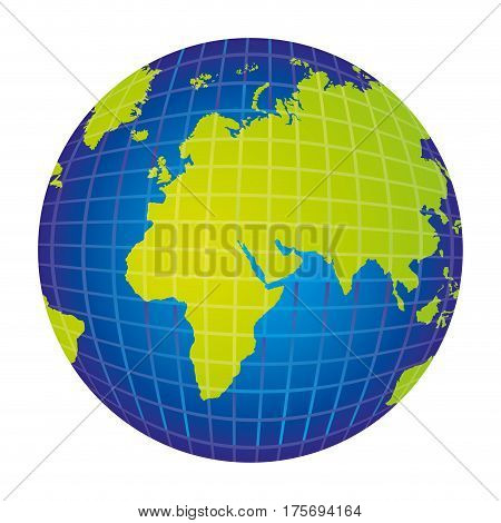 colorful silhouette with world map view from left side vector illustration