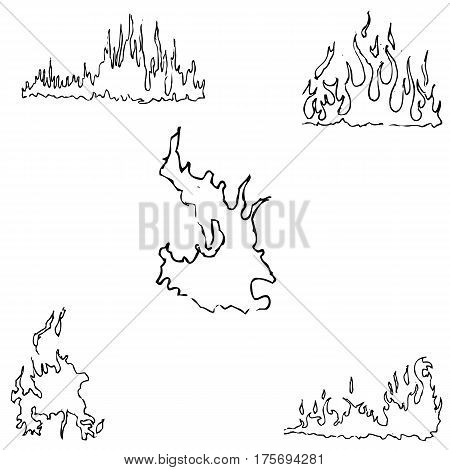 Fire. Sketch by hand. Pencil drawing by hand. Vector image. The image is thin lines.