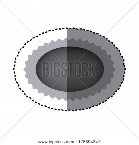 grayscale sticker with oval speech with sawtooth contour vector illustration
