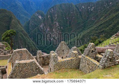 Close View Of The Ruins At Machu Picchu Citadel In Peru.