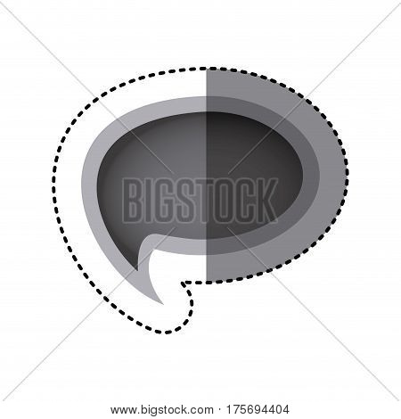 grayscale sticker of cloud speech with tail vector illustration