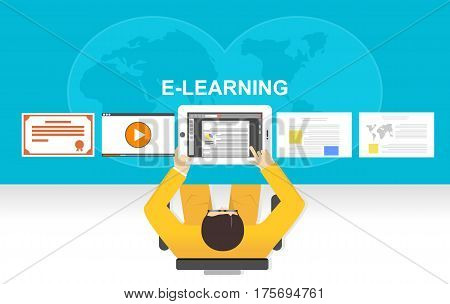 Flat design illustration concepts for e-learning online studying or online education.