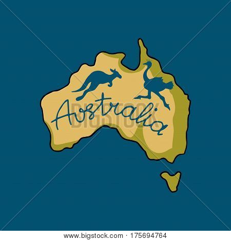 Australia continent in doodle style, vector illustration for your design
