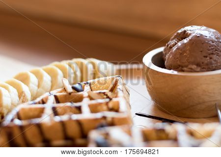 Belgian Waffles With Fruit And Chocolate, Forest Fruit, All Homemade, Delicious Batter
