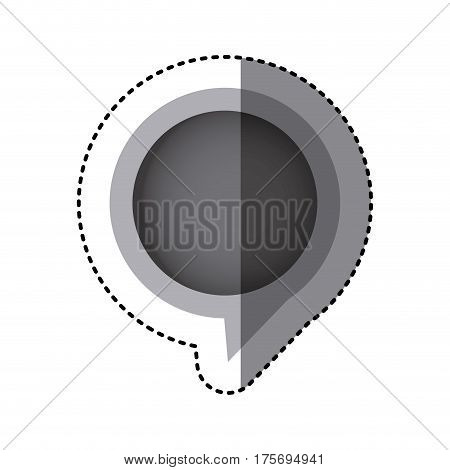grayscale sticker of circular speech with tail in right side vector illustration
