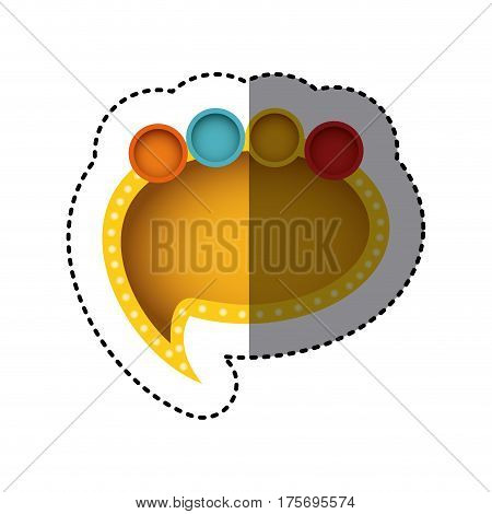 sticker of yellow cloud speech with tail and multicolor circles on top side vector illustration