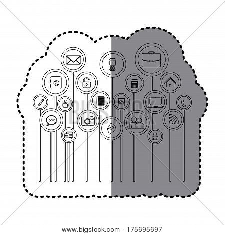 grayscale sticker with tech icons online vector illustration