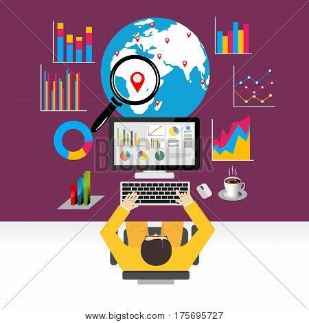 Flat design concepts for global economy , world economy , marketing analytic