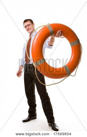 Young  businessman offering a life buoy