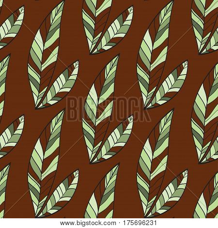 Seamless Trendy Pattern design with doodle spring leafs on brown background. design of wallpaper, fabric, card, packaging and decorative textile. Concept for womens day, Easter, birthday and other holidays