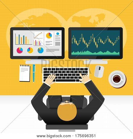 Stock market monitoring , trading analysis, global economy , analyst