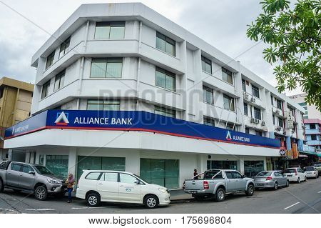 Kota Kinabalu,Sabah-Feb 28,2017:Alliance Bank building in Kota Kinabalu,Sabah.Alliance Bank was selected to be one of the anchor banks in the Malaysian government's bank consolidation initiative.Its successfully anchored the merger with International Bank
