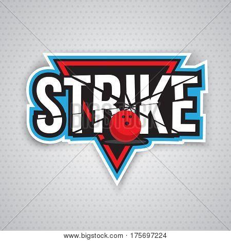Colorful bowling logo design template, badge, emblem on grey background