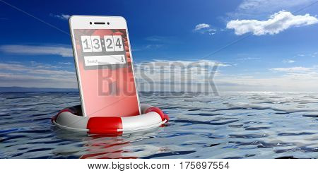 Life Buoy And A Smartphone On Blue Sea Background. 3D Illustration