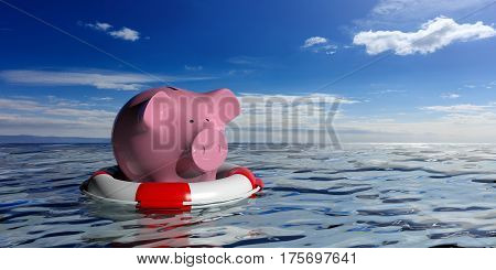 Life Buoy And A Piggy Bank On Blue Sea Background. 3D Illustration