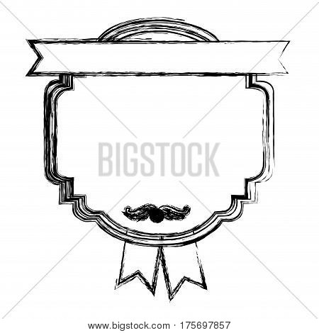 monochrome sketch with heraldic rounded square with ribbon in both sides vector illustration