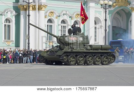 SAINT PETERSBURG, RUSSIA - MAY 05, 2015: Tank T-34-85 on rehearsal of parade in honor of Victory day