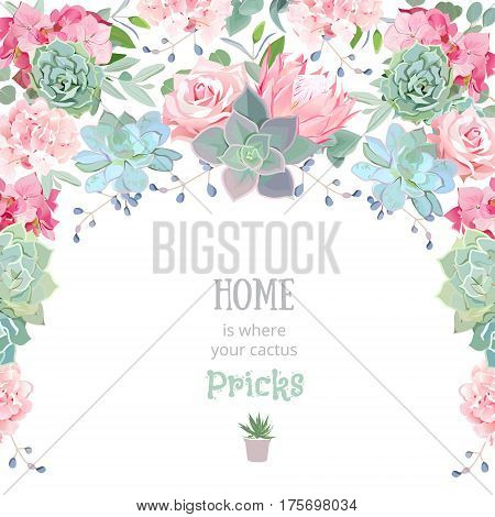 Semicircle garland frame with succulents, protea, rose, peony, echeveria, hydrangea, green plants and blue berries. Pink, mint and green flowers. Cute wedding floral vector design.