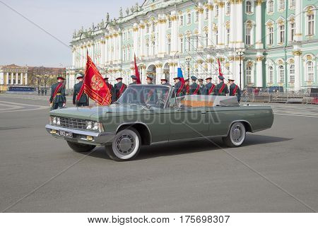 SAINT PETERSBURG, RUSSIA - MAY 05, 2015: ZIL-117V. Preparing for the rehearsal of parade in honor of Victory day in St. Petersburg