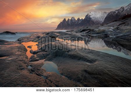 Great Dramatic Sky, Seascape, Landscape. Wild Northern nature. Large size. Norway, Senja island