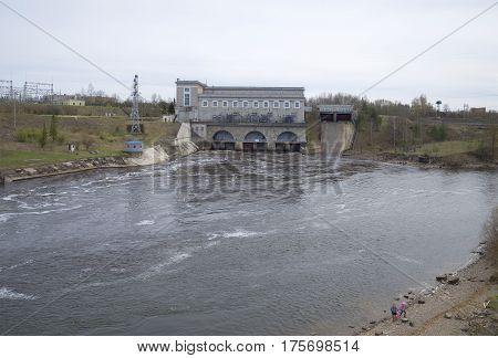 Narva hydroelectric, cloudy day. Ivangorod, Leningrad region, Russia
