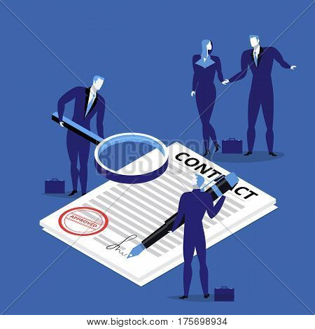 Vector illustration of business people signing contract. Business agreement concept flat style design.