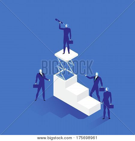 Vector illustration of businessman and his team. Leader standing on the top of stairs and looking through spyglass or hand-held telescope. Business vision, leadership concept flat style design.