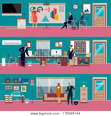 Vector set of modern workspace interiors with office furniture and equipment. Cabinet, conference hall or training class, waiting hall and business people, flat style illustration.