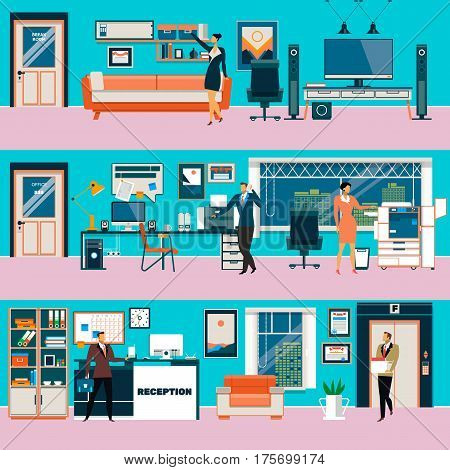 Vector set of modern workspace interiors with office furniture and equipment. Office workers in break room, office cabinet, reception hall, flat style illustration.