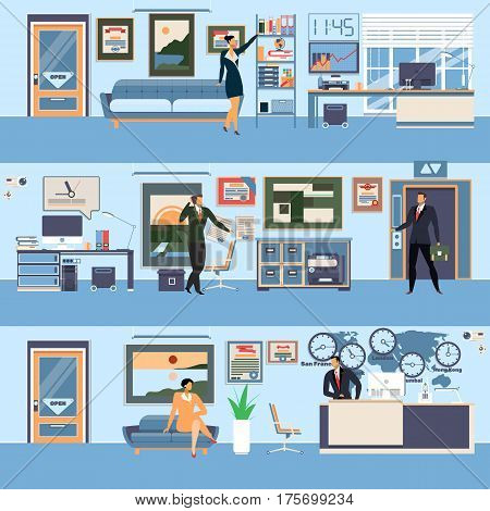 Vector set of modern workspace interiors with office furniture and equipment. Office life of business people, flat style illustration.