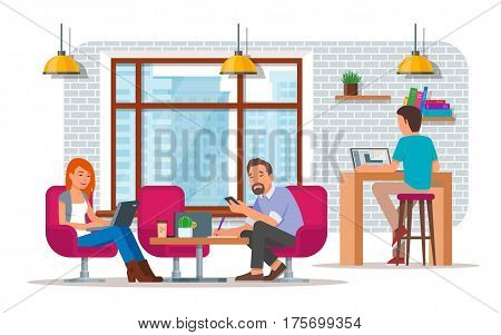 Coworking center concept vector illustration in flat style. Coworking team. Young men and woman making use of laptops and smart phone.