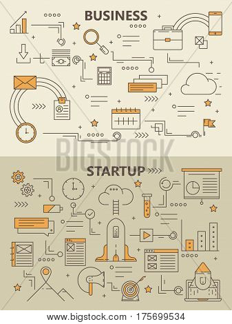Vector set of Business and Startup concept banners. Modern thin line flat design elements for web, marketing, presentation and printing. Business startup infographics template, icons.