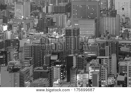 Black and White Umeda city business downtown Osaka Japan