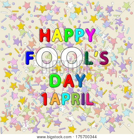 rounded lettering vector of happy fool's day 1 april on color stars lines and dots backgrounds with outline