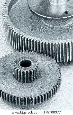 Grey Metal Industrial Background With Gearwheels