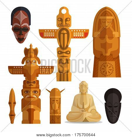 Vector illustration of Buddha, north American totem pole, ethnic tribal masks. Idols flat symbols, icons isolated on white background.