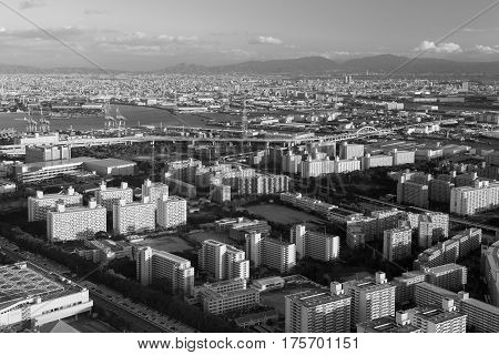 Black and White Osaka city residence downtown Japan