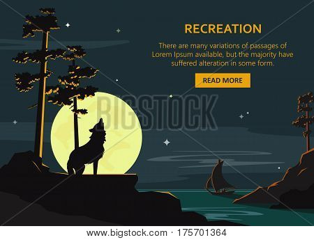 Vector recreation poster. Night seascape, moonlight background with wolf standing on rock. Flat style design illustration.