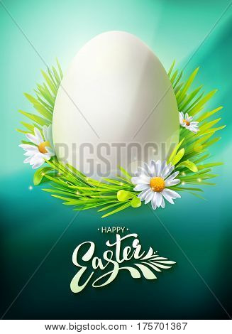 Realistic Egg Hunt poster with typography Hello Easter. Vector illustration. Greeting banner with calligraphy, green grass and flowers. Vertical. Decorative symbol