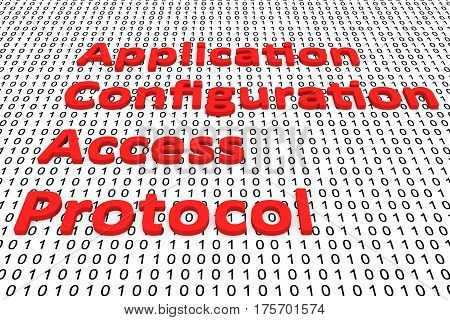 application configuration access protocol in the form of binary code, 3D illustration