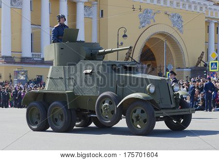 SAINT PETERSBURG, RUSSIA - MAY 09, 2015: Armored car BA-3 at the parade in honor of Victory day