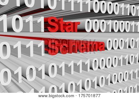star schema in the form binary code 3D illustration