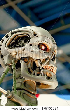 OSAKA, JAPAN - Jan 21, 2017 : Photo of the T-800 Endoskeleton from the Terminator 3D,one of the most famous attraction at Universal Studios JAPAN, Osaka, Japan.