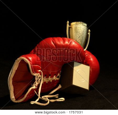 Red Boxing Glove Holding A Shining Cup,Closeup