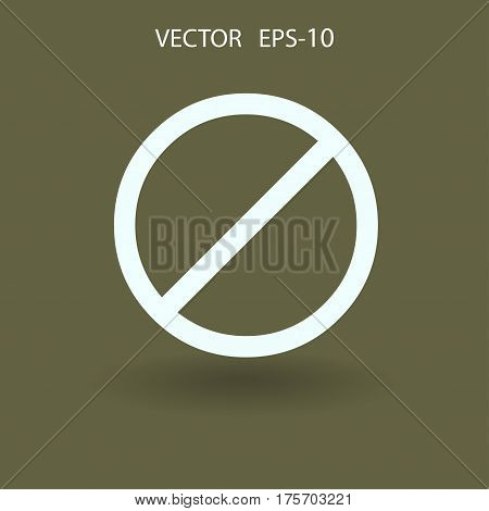 Flat icon of a prohibition. vector illustration